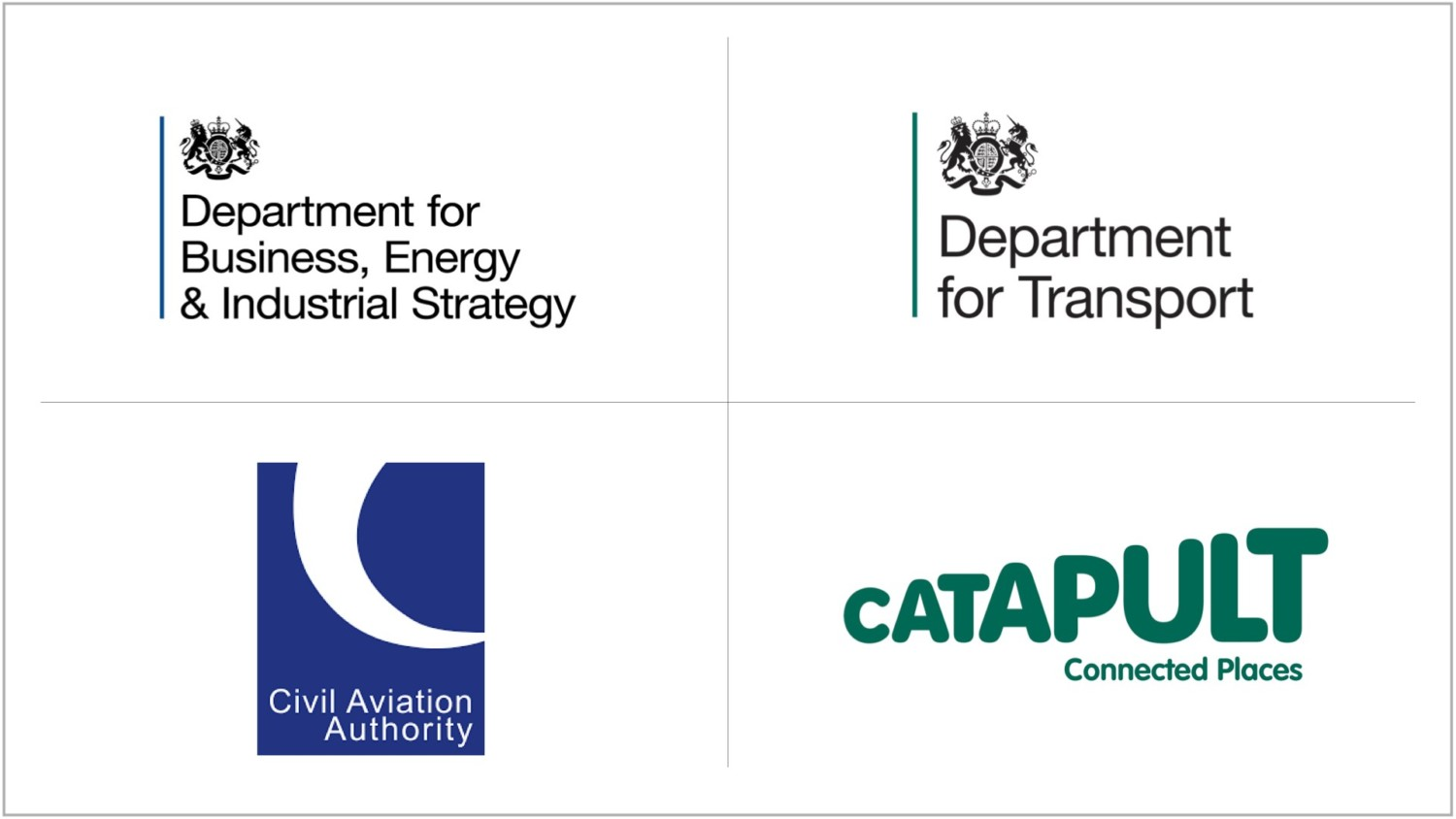 BEIS, DfT, CAA and Connected Places Catapult logos